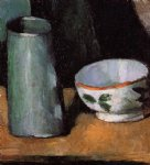 still life bowl and milk jug by paul cezanne painting