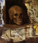 still life skull and waterjug by paul cezanne painting