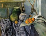 still life with a ginger jar and eggplants by paul cezanne painting