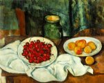 paul cezanne still life with a plate of cherries paintings
