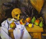 still life with a skull by paul cezanne painting