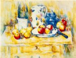 still life with apples a bottle and a milk pot by paul cezanne painting