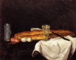 still life with bread and eggs by paul cezanne painting