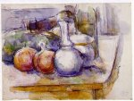 still life with carafe sugar bowl bottle pommegranates and watermelon by paul cezanne painting