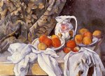 still life with curtain and flowered pitcher by paul cezanne painting