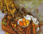 still life with flower curtain and fruit by paul cezanne painting
