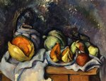 still life with fruit and a pot of ginger by paul cezanne painting