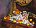 still life with fruit pitcher and fruit vase by paul cezanne painting