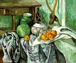 still life with ginger jar and eggplants by paul cezanne painting
