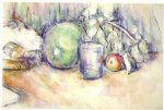 still life with green melon ii by paul cezanne painting