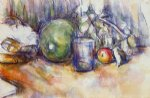 still life with green melon by paul cezanne painting