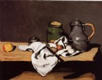 still life with green pot and pewter jug by paul cezanne painting