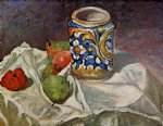 still life with italian earthenware by paul cezanne painting