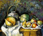 still life with melons and apples by paul cezanne painting