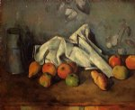 still life with milk can and apples by paul cezanne painting