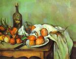 still life with onions by paul cezanne painting