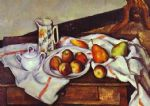 still life with peaches and pears by paul cezanne painting