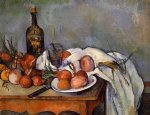 still life with red onions by paul cezanne painting