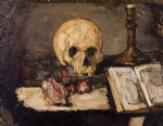 still life with skull and candlestick by paul cezanne painting