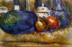 still life with watermelon and pemegranates by paul cezanne painting