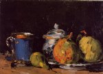 sugar bowl pears and blue cup by paul cezanne painting
