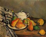 sugarbowl pears and tablecloth by paul cezanne painting