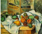 table napkin and fruit by paul cezanne painting