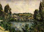 the bridge and waterfall at pontoise by paul cezanne painting