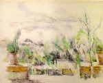 the garden terrace at les lauves by paul cezanne painting