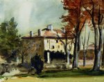 the manor house at jas de bouffan by paul cezanne painting