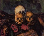three skulls on a patterned carpet by paul cezanne painting