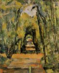 paul cezanne tree lined lane at chantilly painting