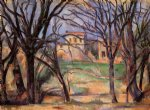 trees and houses by paul cezanne painting