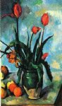tulips in a vase by paul cezanne painting