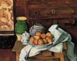vessels fruit and cloth in front of a chest by paul cezanne painting