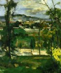 paul cezanne village behind trees ile de france painting