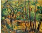 well millstone and cistern under trees by paul cezanne painting