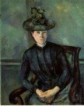 woman in a green hat by paul cezanne painting