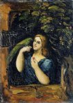 woman with parrot by paul cezanne painting