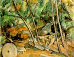 woods with millstone by paul cezanne painting