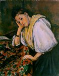 young italian girl resting on her elbow by paul cezanne painting