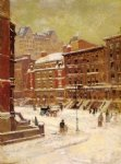 new york city view in winter by paul cornoyer paintings