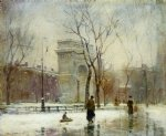 winter in washington square by paul cornoyer paintings