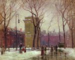 winter washington square by paul cornoyer paintings