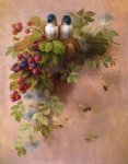birds bees and berries by paul de longpre painting