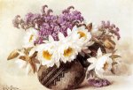flowers in an indian basket by paul de longpre painting