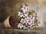 white azaleas in a flower pot by paul de longpre painting