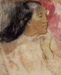 paul gauguin a tahitian woman with a flower in her hair painting