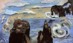 at the black rocks by paul gauguin painting