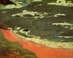 paul gauguin beach at le pouldu painting